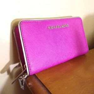 Michael Kors Zippy Wallet, Pink & Silver